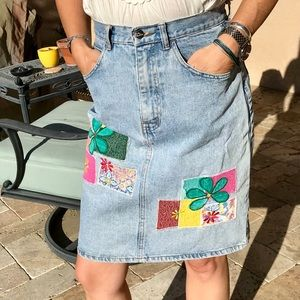 Eva Fashion Patchwork Denim Skirt Vintage size 4